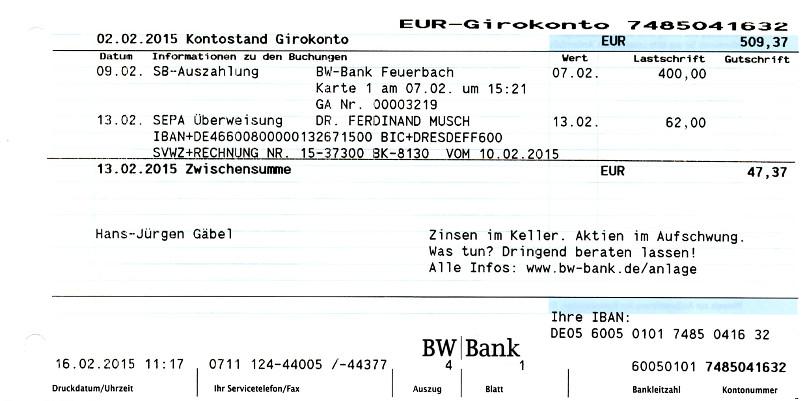 Inse der BRD - 6l - Iban Bw Bank on